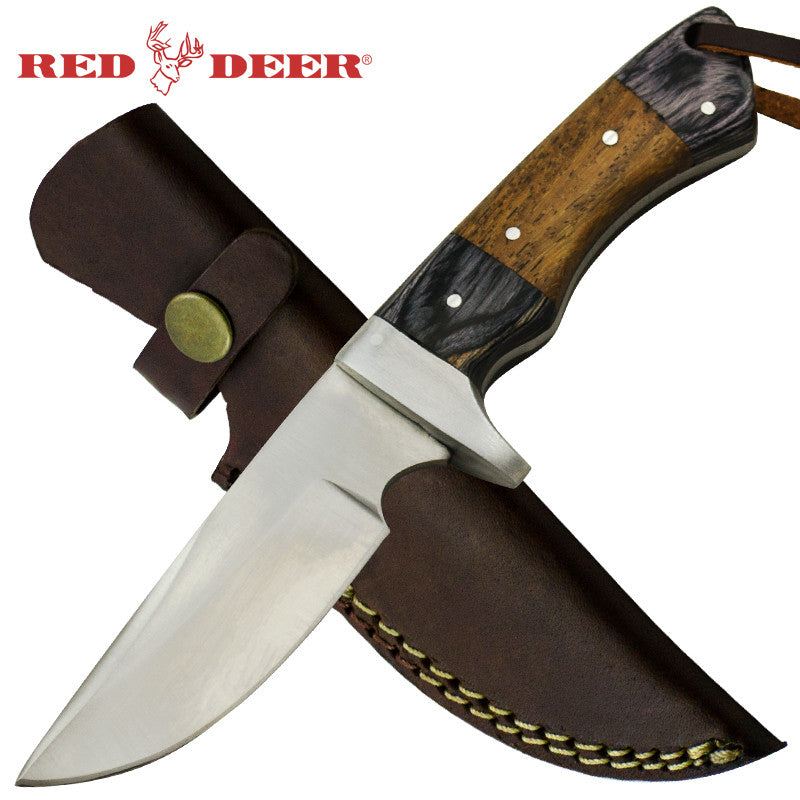 Red Deer 8 Inches Full Tang 2 Tone Pakka Wood Hunting knife with Leather Sheath - Panther Wholesale