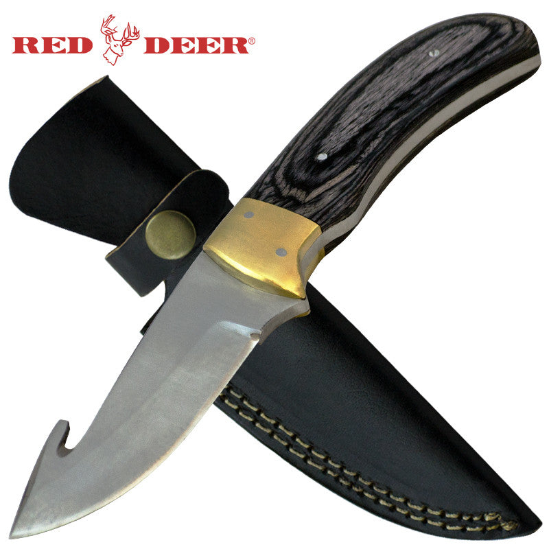 Red Deer 8 Inches Gut Hook Full Tang Pakka Wood Handle 440 Stainless Steel Genuine Leather Sheath, , Panther Trading Company- Panther Wholesale