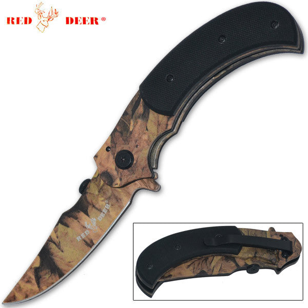 8 Inch Red Deer Trigger Action Outdoor Skinner Knife - Red Camo, , Panther Trading Company- Panther Wholesale