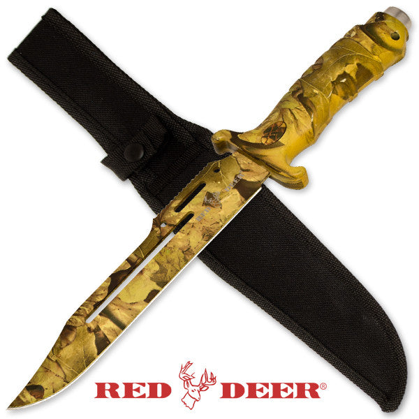 Red Deer 13 Inch Survival & Combat Knife - Leaf Camo - Panther Wholesale