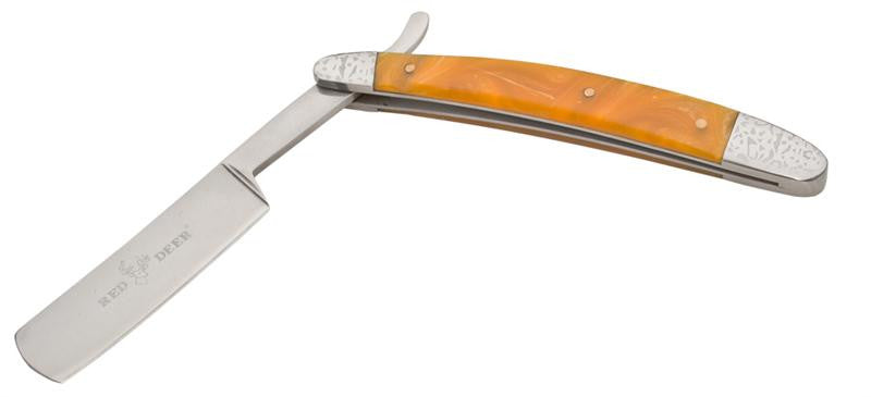 9.5 Inch Red Deer Shaving Barber Vintage Straight Razor (Yellow Pearl), , Panther Trading Company- Panther Wholesale