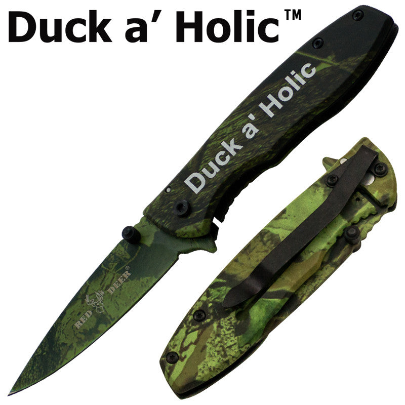 Duck a' Holic Trigger Action Red Deer Knife - Green Camo - Panther Wholesale