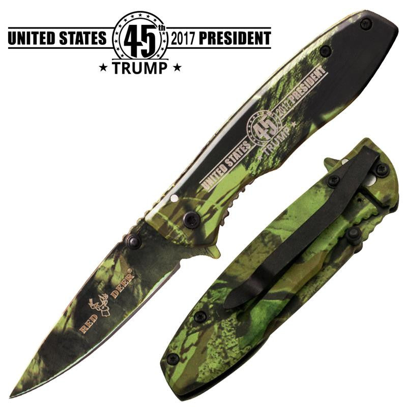 45th Trump Trigger Action Red Deer Knife - Green Camo