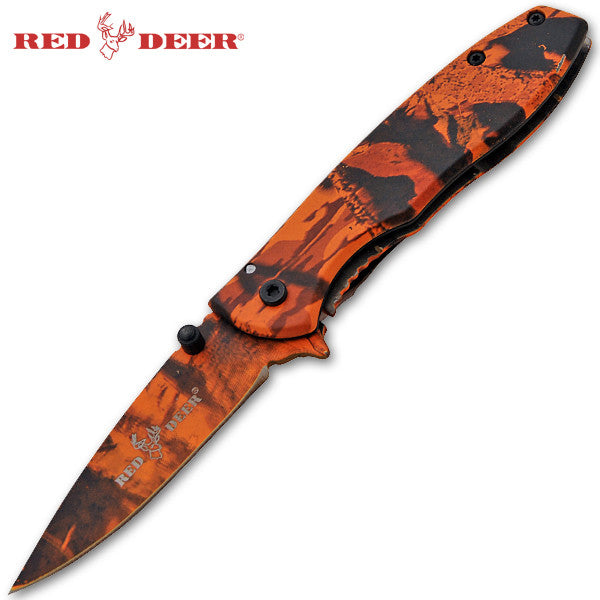 Trigger Action Red Deer Knife - Orange Camo, , Panther Trading Company- Panther Wholesale