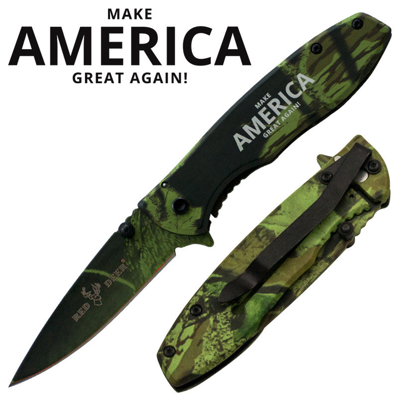 Make America Great Again! Trigger Action Red Deer Knife - Green Camo, , Panther Trading Company- Panther Wholesale