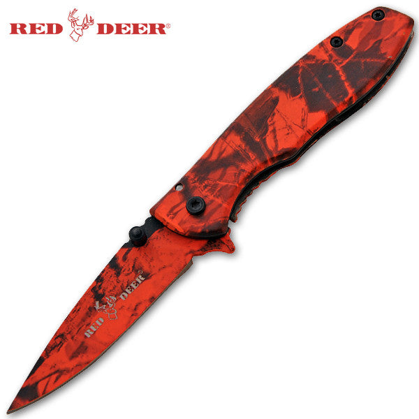 Trigger Action Red Deer Knife - Red Camo