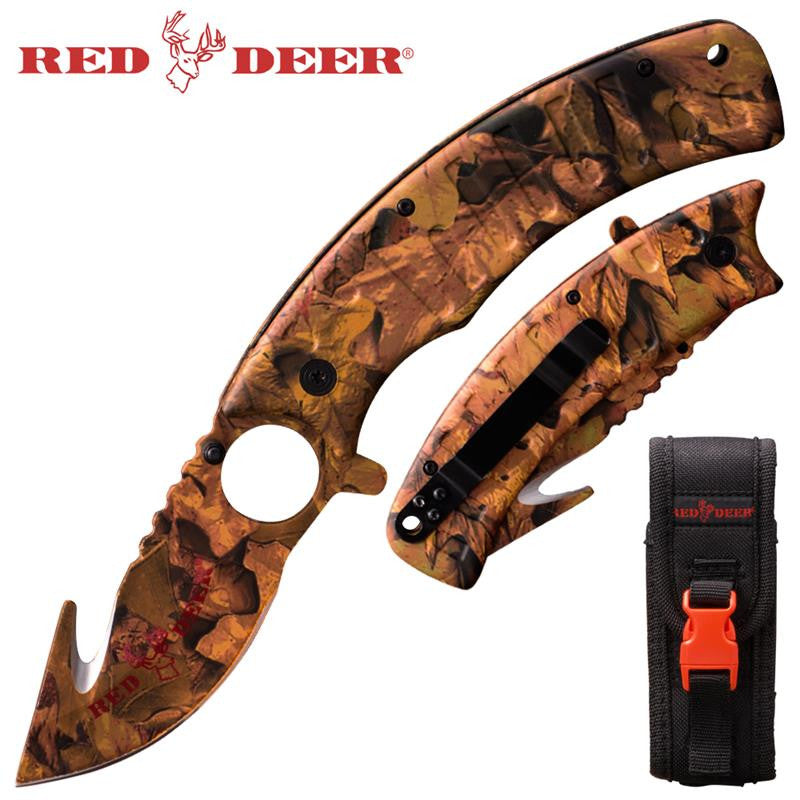 9 in Brown Camo Red Deer Folding Knife W. (black Red deer Sheath), , Panther Trading Company- Panther Wholesale