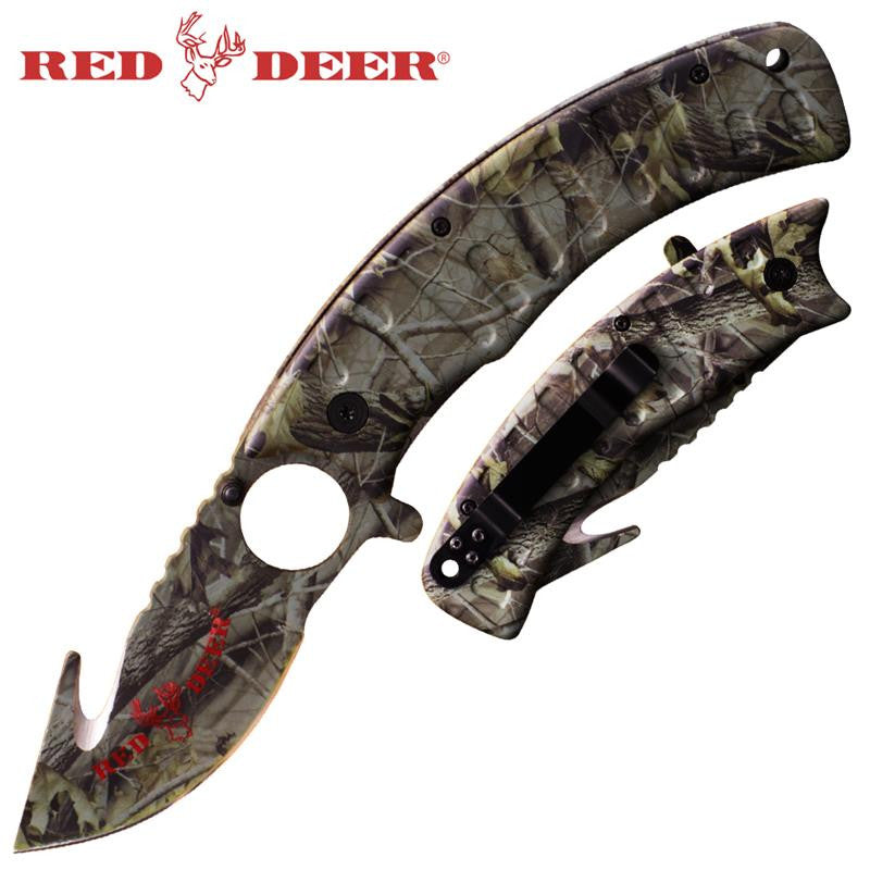 9 in Gray Camo Red Deer Folding Knife (No Sheath)