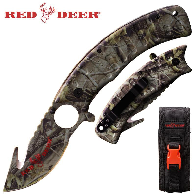 9 in Gray Camo Red Deer Folding Knife W. (black Red deer Sheath), , Panther Trading Company- Panther Wholesale