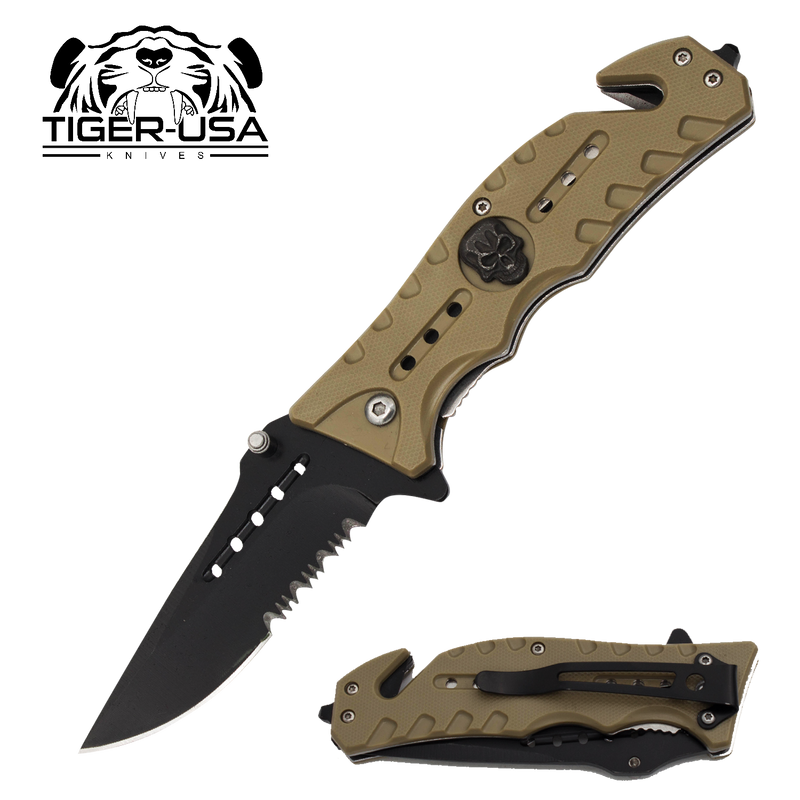 Tiger-USA Skull Crusher Trigger Action Blade - Tan - Panther Wholesale