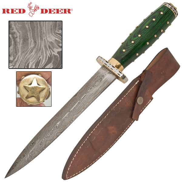 Scottish Damascus Kilt Dagger With Green Wooden and Brass Handle, , Panther Trading Company- Panther Wholesale