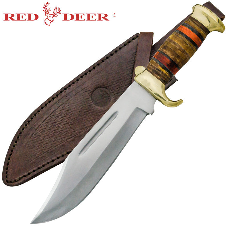 Red Deer Beast Hunter Bowie Leather Handle Full Tang Dagger with Real Leather Sheath