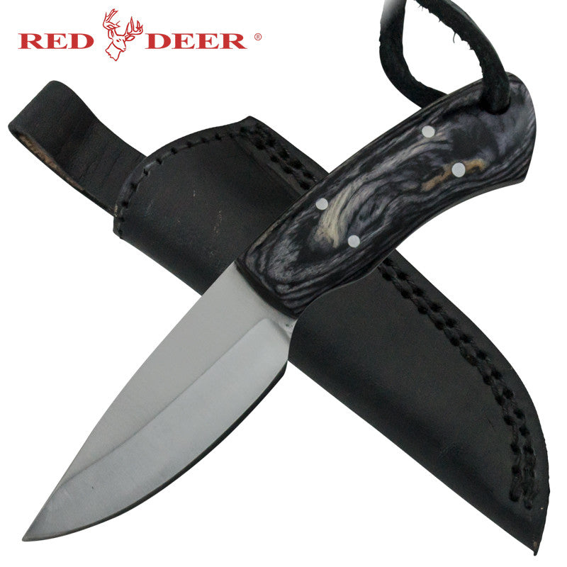Red Deer Black Pakka Wood Handle 440 Stainless Steel Genuine Leather Sheath, , Panther Trading Company- Panther Wholesale