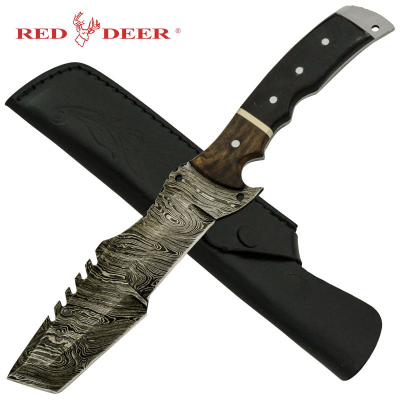 Red Deer Black Wood Real Damascus Buffalo Horn Fixed Blade Dagger with Leather Sheath