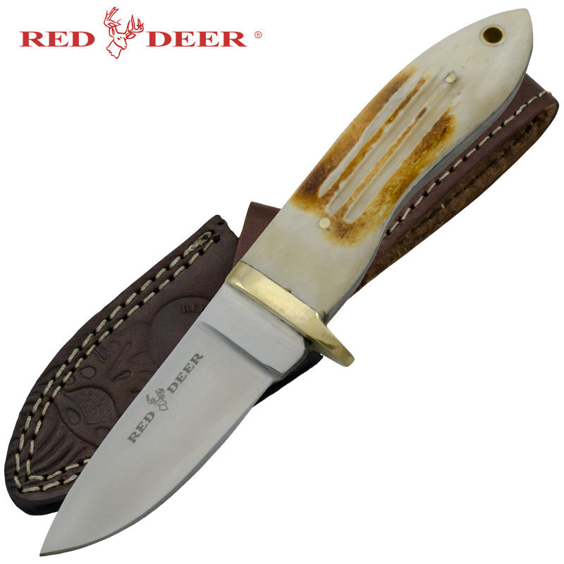 Red Deer Bone Handle Hunting Knife, , Panther Trading Company- Panther Wholesale