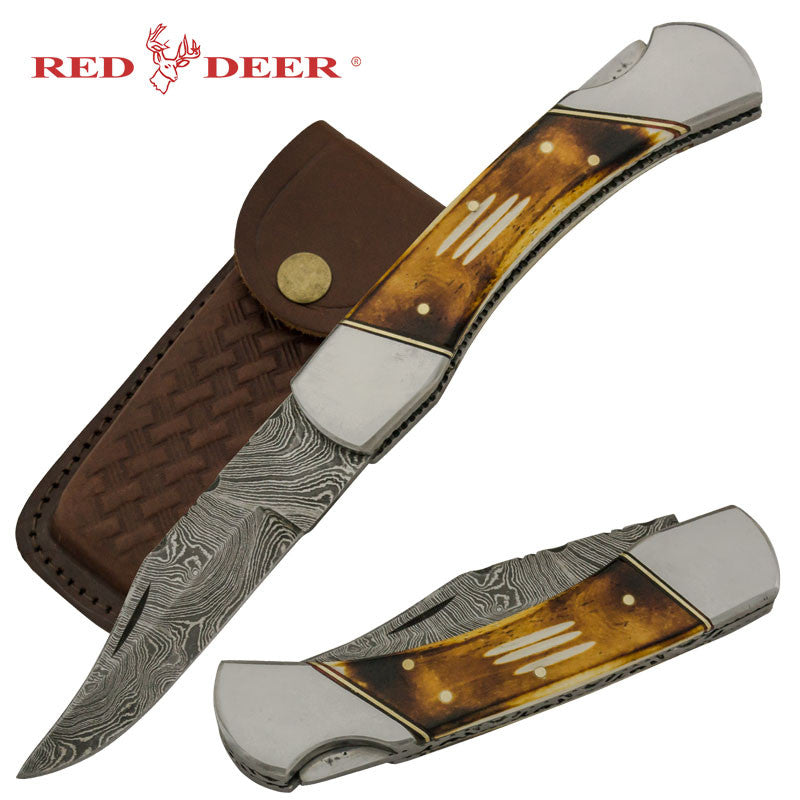 Red Deer Burning Bone Cherokee Doe Real Damascus Folding Knife Genuine Leather Case, , Panther Trading Company- Panther Wholesale