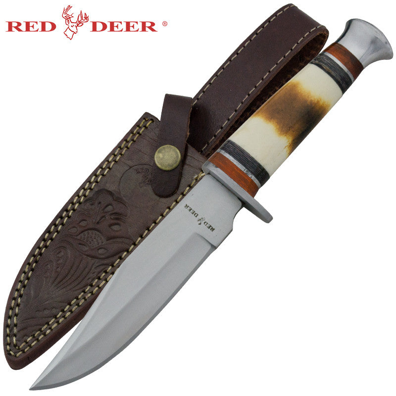 Red Deer Burnt Bone Skinning Knife Red and Black Pakka, , Panther Trading Company- Panther Wholesale