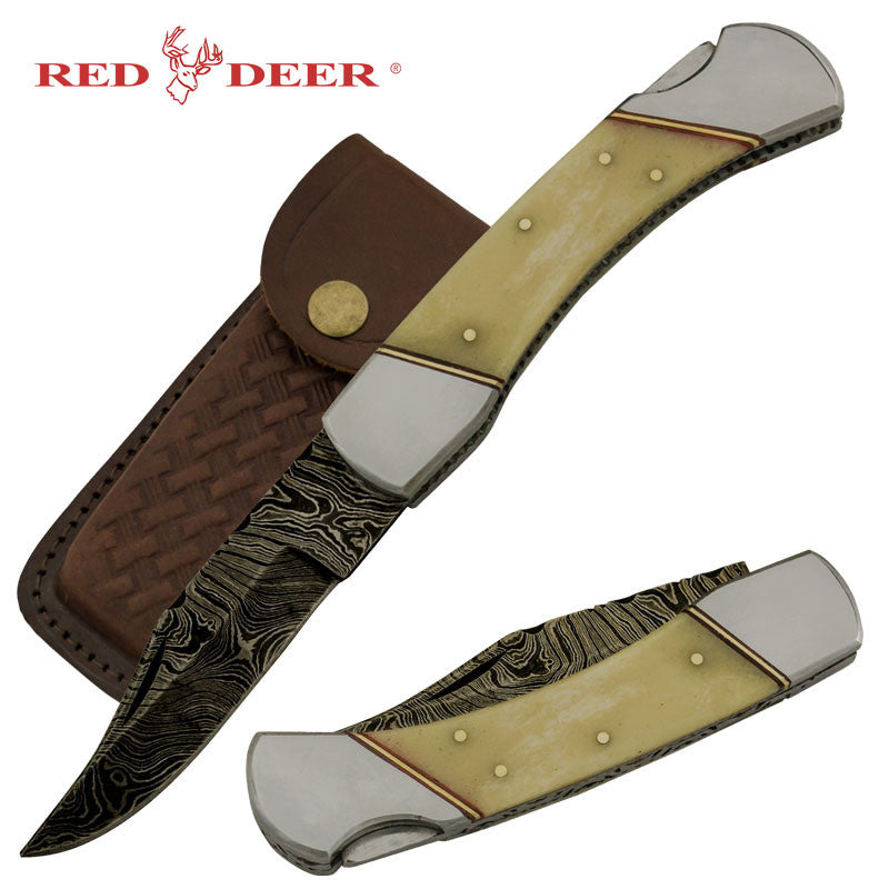Red Deer Cherokee Doe Real Damascus Folding Knife Genuine Leather Case