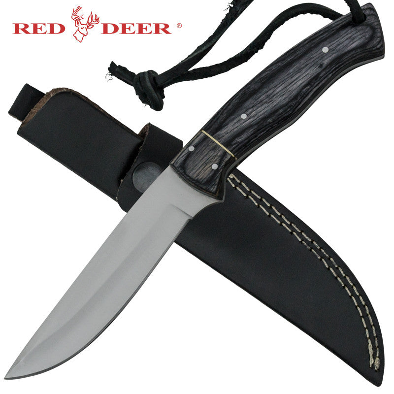 Red Deer Coon Scraper Full Tang Pakka Wood Handle 440 Stainless Steel Gut Hook Genuine Leather Sheath