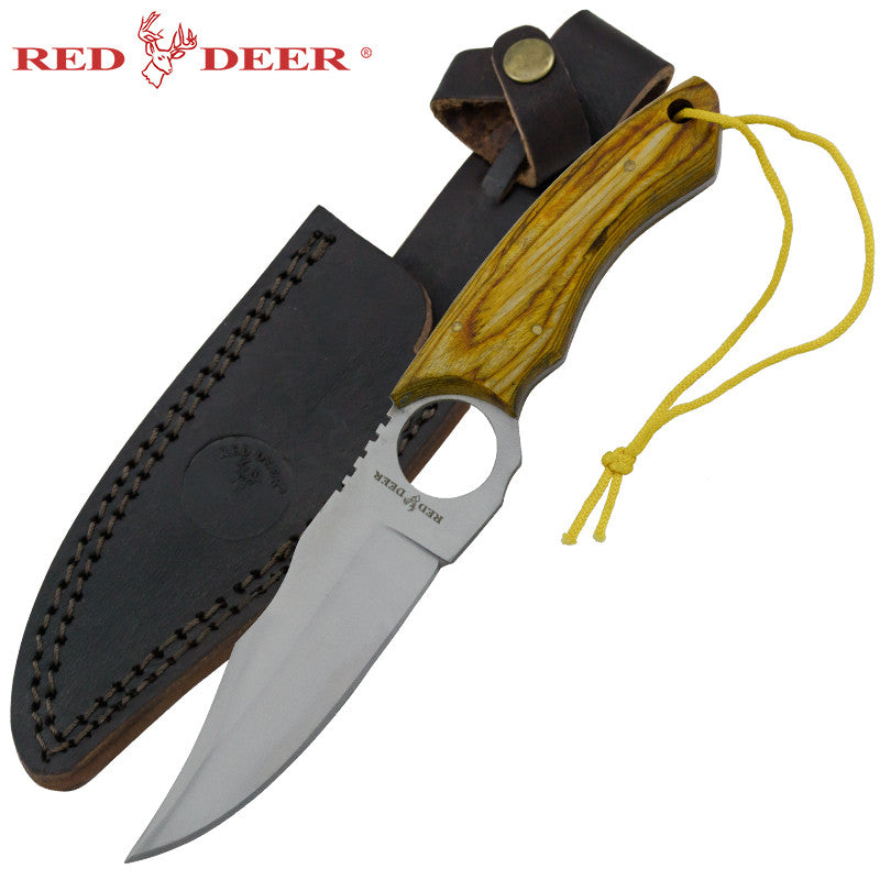 Red Deer Doe Valley Skinning Knife Olive Wood