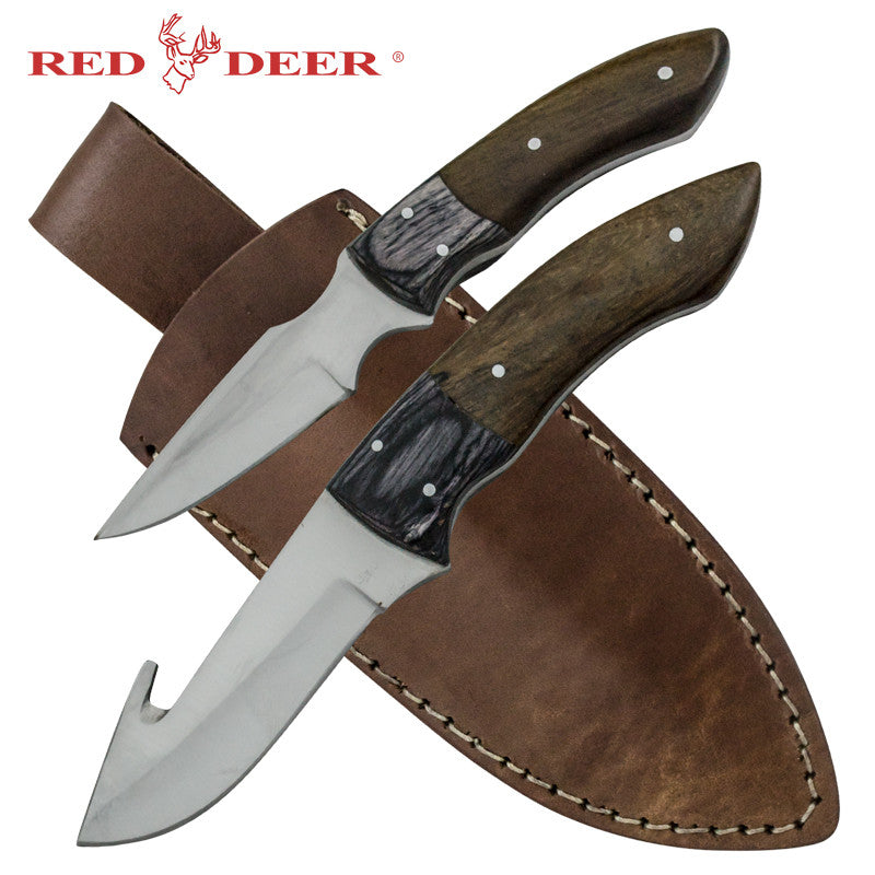 Red Deer Dual Game Skinner Full Tang Pakka Wood 2 PC Set Genuine Leather Sheath, , Panther Trading Company- Panther Wholesale