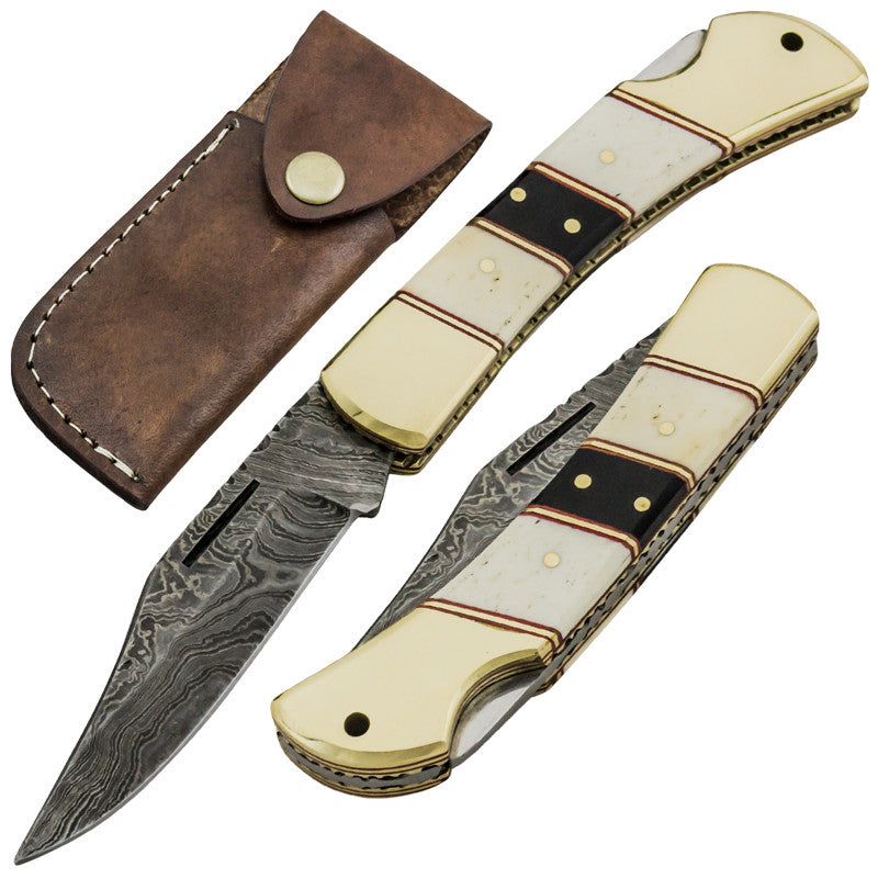 Red Deer Fine Damascus Back Lock Folding Knife, , Panther Trading Company- Panther Wholesale