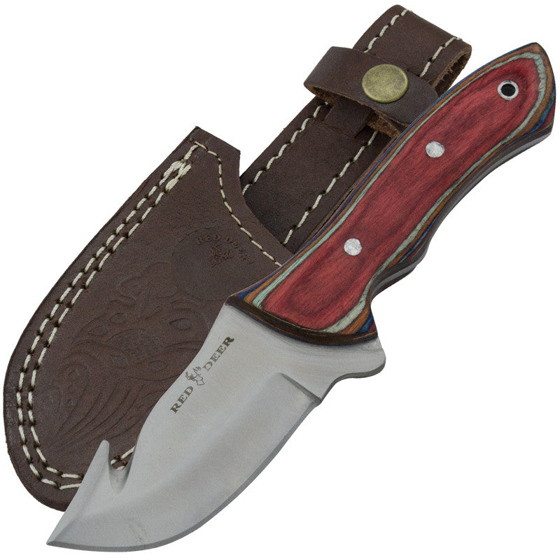 Red Deer Full Tang 440 Stainless Steel Multicolored Pakka Wood Gut Hook Skinning Knife, , Panther Trading Company- Panther Wholesale