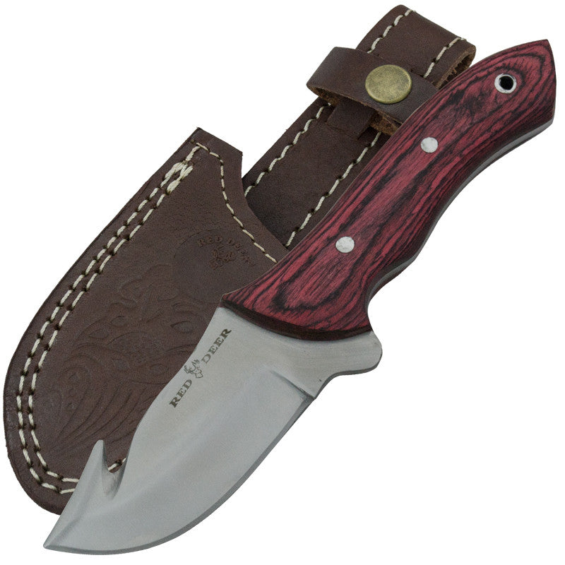 Red Deer Full Tang 440 Stainless Steel Red Pakka Wood Gut Hook Skinning Knife, , Panther Trading Company- Panther Wholesale