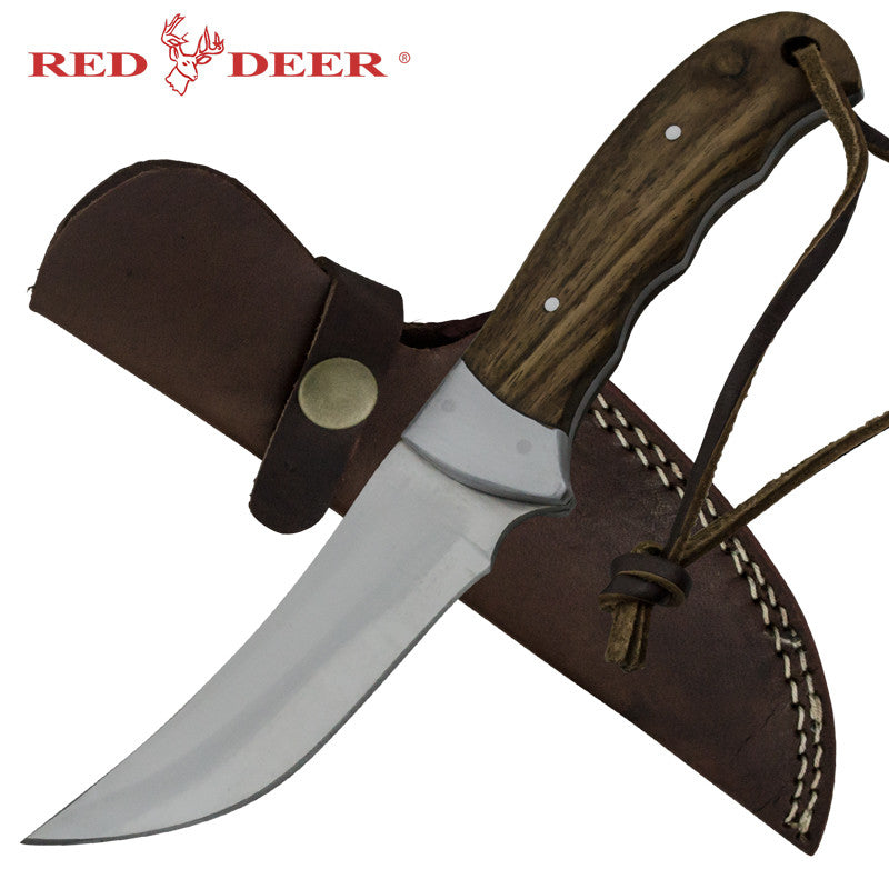 Red Deer Goose Grazer Full Tang Pakka Wood Handle 440 Stainless Steel Genuine Leather Sheath
