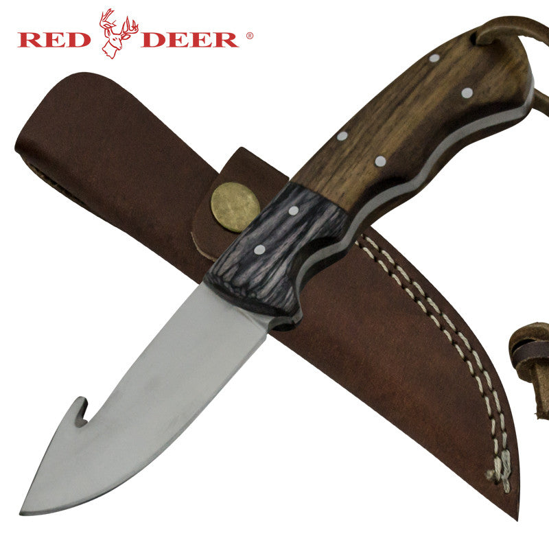 Red Deer Grazer Gutter Full Tang Pakka Wood Handle 440 Stainless Steel Gut Hook Genuine Leather Sheath, , Panther Trading Company- Panther Wholesale