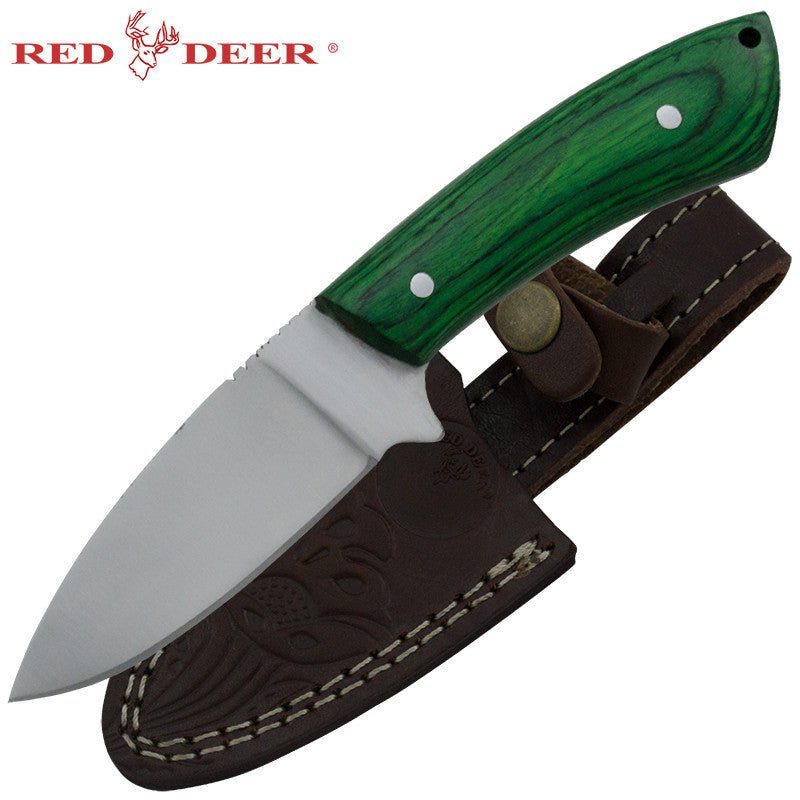 Red Deer Green Pakka Wood Skinning Knife, , Panther Trading Company- Panther Wholesale