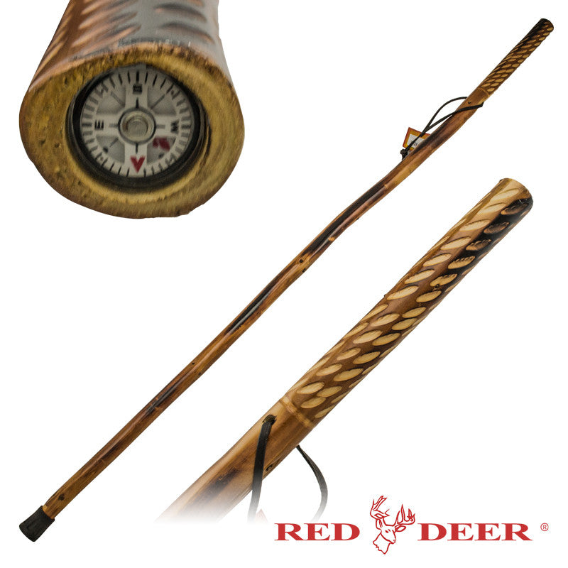 Red Deer Hand Carved Walking Cane - Compass Handle/Drops