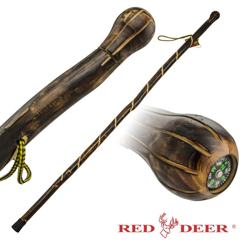 Red Deer Hand Carved Walking Cane - Compass Handle (Smaller)
