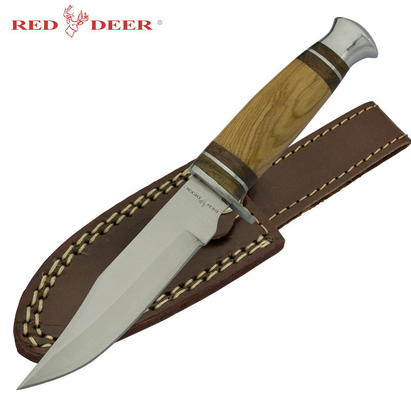 Red Deer Hunting Knife with Olive Wood, , Panther Trading Company- Panther Wholesale
