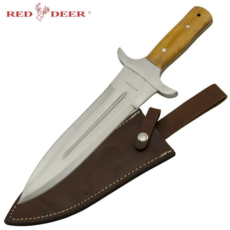 Red Deer Hunting Dagger with Real Leather Sheath