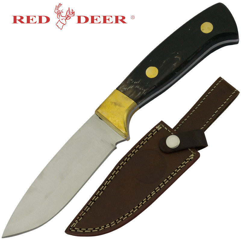 Red Deer Hunting Knife Buffalo Horn Handle, , Panther Trading Company- Panther Wholesale