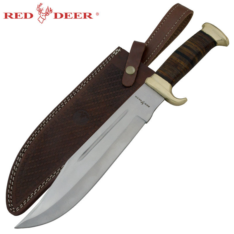 Red Deer Leather Handle Real Brass Jungle Dagger Leather Sheath, , Panther Trading Company- Panther Wholesale