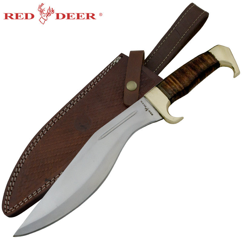 Red Deer Leather Handle Real Brass Jungle Kukri Leather Sheath, , Panther Trading Company- Panther Wholesale