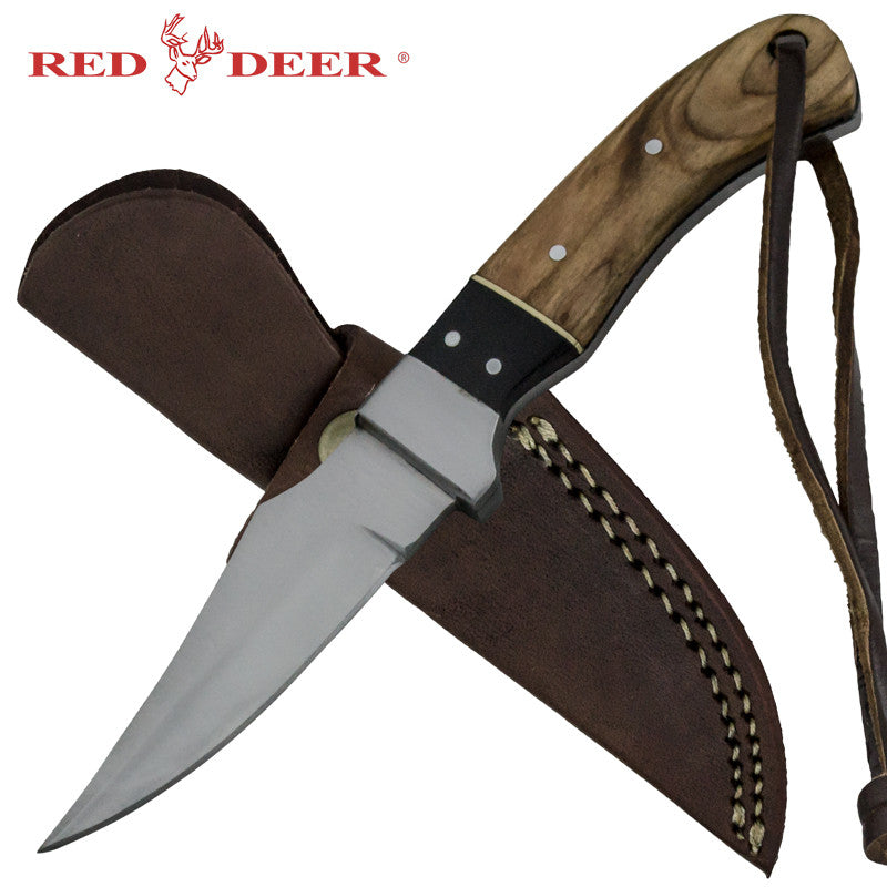 Red Deer Mega Buffalo Full Tang Pakka Wood Handle 440 Stainless Steel Genuine Leather Sheath, , Panther Trading Company- Panther Wholesale