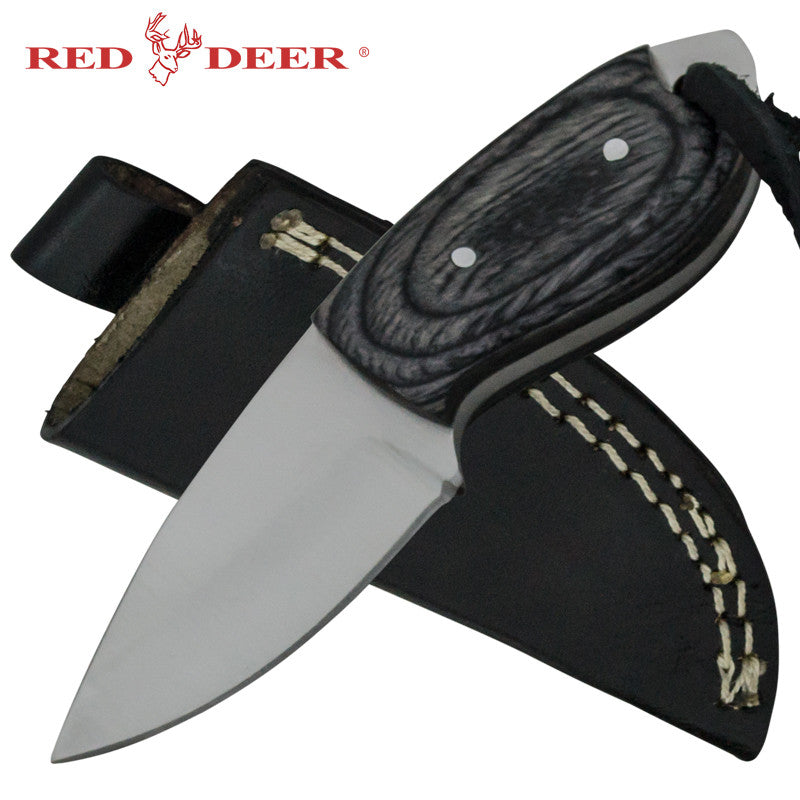 Red Deer Mini Skin Pakka Wood Handle 440 Stainless Steel Genuine Leather Sheath, , Panther Trading Company- Panther Wholesale
