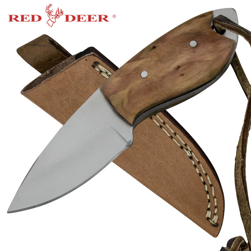 Red Deer Mini Skinner Full Tang Pakka Wood Handle 440 Stainless Steel Genuine Leather Sheath, , Panther Trading Company- Panther Wholesale