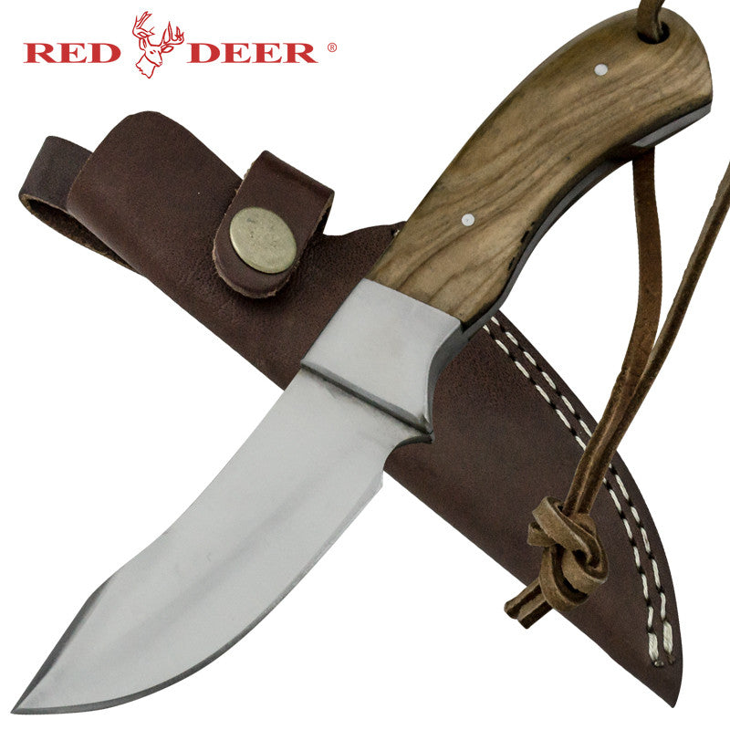 Red Deer Moose Hide Skinner Full Tang Pakka Wood Handle 440 Stainless Steel Genuine Leather Sheath, , Panther Trading Company- Panther Wholesale