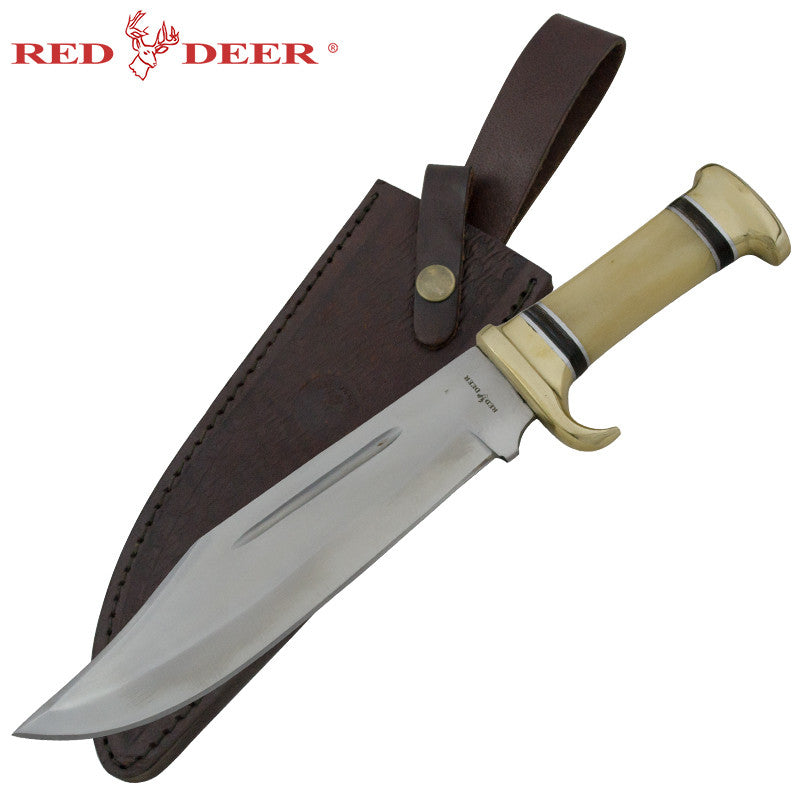Red Deer Mountain Lion Bowie Real Brass Animal Bone, , Panther Trading Company- Panther Wholesale