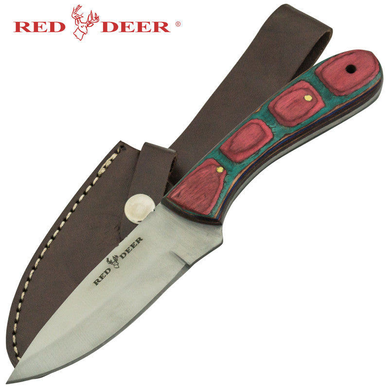 Red Deer Multicolored Pakka Wood Handle Hunting Knife, , Panther Trading Company- Panther Wholesale