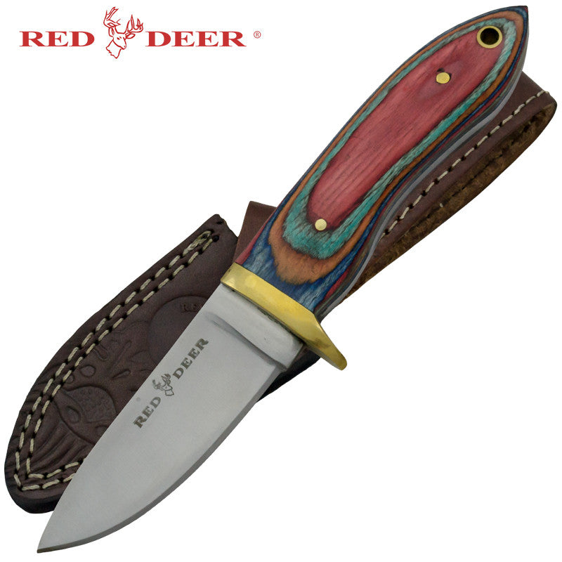 Red Deer Multicolored Pakka Wood Handle Hunting Knife
