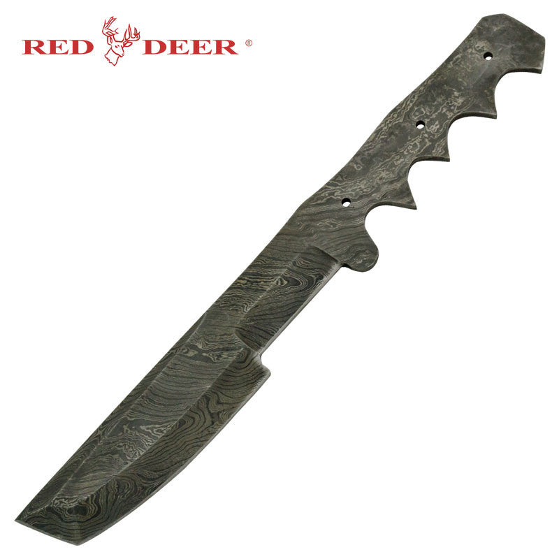 Red Deer Nomad's Land Real Damascus Fixed Blade Knife