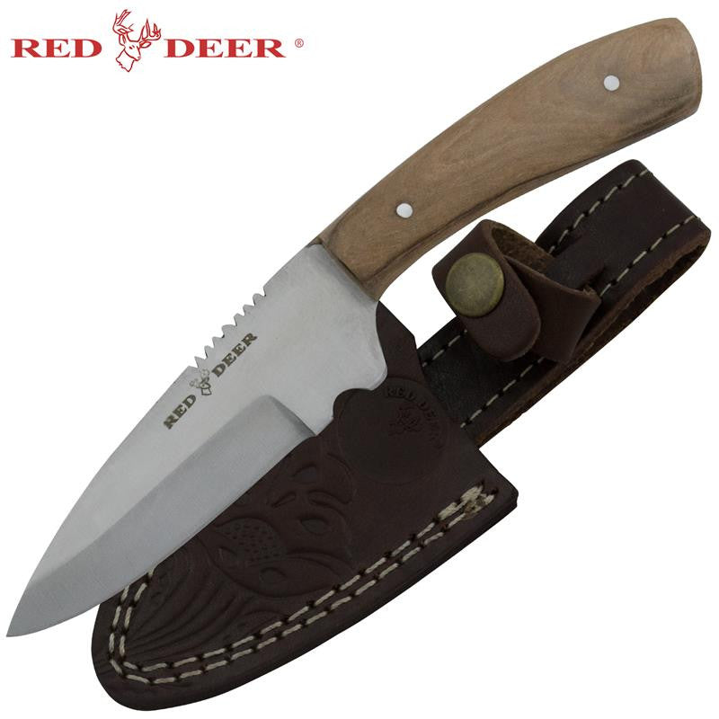 Red Deer Olive Pakka Wood Skinning Knife, , Panther Trading Company- Panther Wholesale