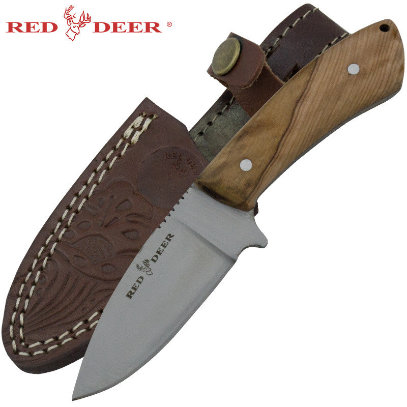 Red Deer Olive Wood Skinning Knife, , Panther Trading Company- Panther Wholesale