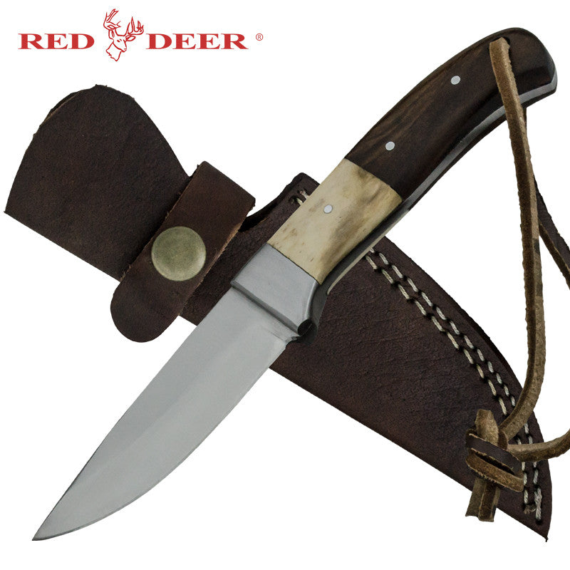 Red Deer Real Bone Pakka Wood Handle 440 Stainless Steel Genuine Leather Sheath, , Panther Trading Company- Panther Wholesale