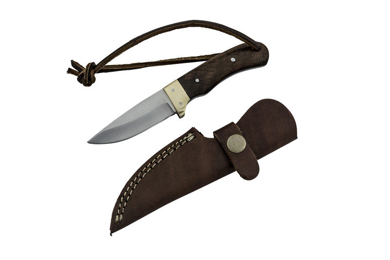 Red Deer Real Brass Pakka Wood Handle 440 Stainless Steel Genuine Leather Sheath, , Panther Trading Company- Panther Wholesale